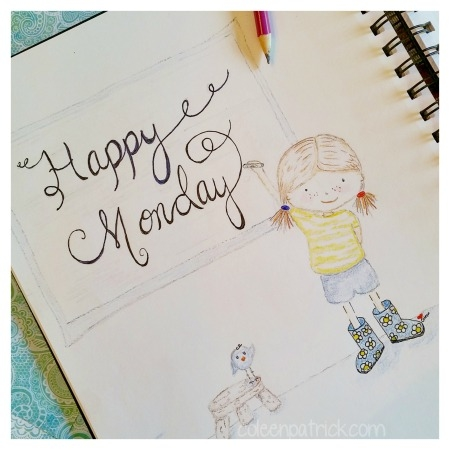 happy monday cute illustration girl
