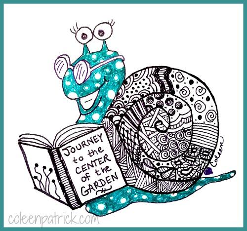 snail reading doodle
