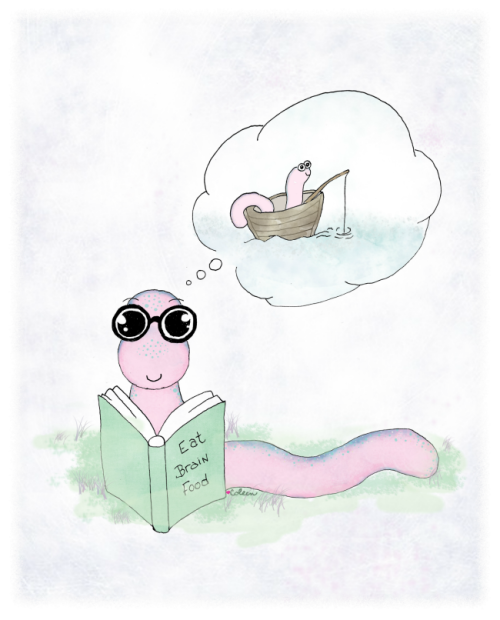 bookworm fishing illustration coleen patrick