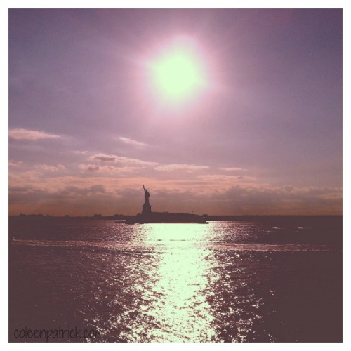 Statue of Liberty setting sun