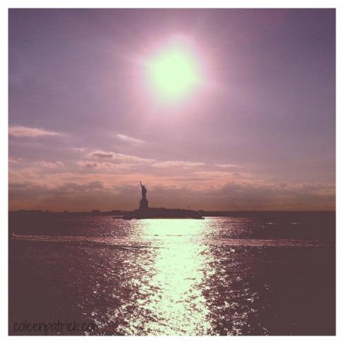 Statue of Liberty setting sun